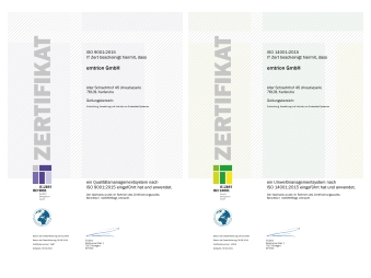 emtrion receives new certificates ISO 9001:2015 and ISO 14001:2015